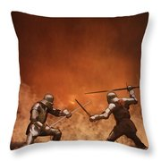 Medieval Knights In Armour Fighting With Swords Throw Pillow