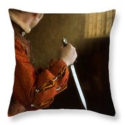 Medieval Man With Dagger Throw Pillow