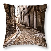 Medieval Street In France Throw Pillow