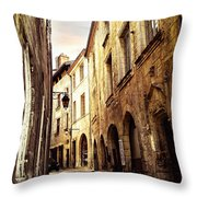 Medieval Street In Perigueux Throw Pillow by Elena Elisseeva