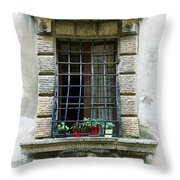Medieval Window With Iron Grilles Throw Pillow