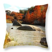 Fall Cypress At Bandera Falls On The Medina River Throw Pillow
