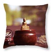 Meditating Buddha Statue Throw Pillow