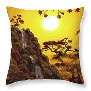 Meditating By A Golden Waterfall Throw Pillow
