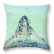 Meditation Blues Throw Pillow
