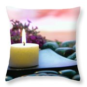 Meditation Candle Throw Pillow by Olivier Le Queinec