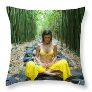 Meditation In Bamboo Forest Throw Pillow