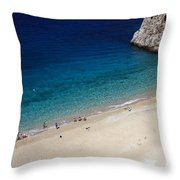 Mediterranean Coastal Scene Throw Pillow
