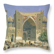 Medrasah Shir-dhor At Registan Place In Samarkand, 1869-70 Oil On Canvas Throw Pillow