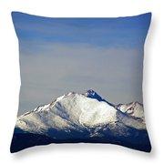 Meeker And Longs Peak Massive In Snow Throw Pillow