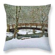 Meeks Park Bridge In Snow Throw Pillow