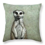 Meerkat Throw Pillow by James W Johnson