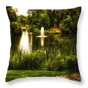 Meet Me By The Fountain Throw Pillow