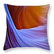 Meeting Of The Curves In Lower Antelope Canyon In Lake Powell Navajo Tribal Park-arizona  Throw Pillow