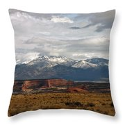 Meeting Of The Mountains And Desert Throw Pillow