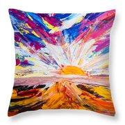 Meeting The Sun Abstract Landscape Throw Pillow