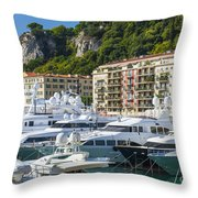 Mega Yachts In Port Of Nice France Throw Pillow