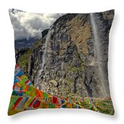 Meili Mountain Sacred Waterfall Throw Pillow