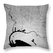 Melbourne Street Map - Melbourne Australia Road Map Art On Color Throw Pillow