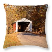 Melcher Covered Bridge Parke Co In Usa Throw Pillow