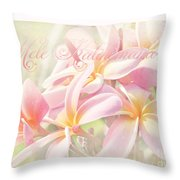 Mele Kalikimaka - Pink Plumeria - Hawaii Throw Pillow