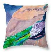 Mellow Peacock Throw Pillow