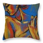 Mellow Yellow- Female Nude Portrait Throw Pillow