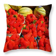 Melons And Strawberries Throw Pillow