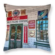Mel's Filling Station Throw Pillow
