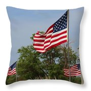 Memorial Day Flag's With Blue Sky Throw Pillow by Robert D  Brozek