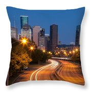 Memorial Drive And Houston Skyline Throw Pillow