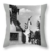 Memorial Statue Children Playing Juarez Chihuahua Mexico 1977 Black And White Throw Pillow