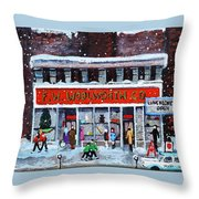 Memories Of Winter At Woolworth's Throw Pillow