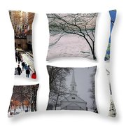 Memories Of Winter - A Collage Throw Pillow