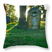 Memphis Elmwood Cemetery - Backlit Grave Stones Throw Pillow