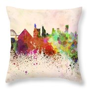 Memphis Skyline In Watercolor Background Throw Pillow