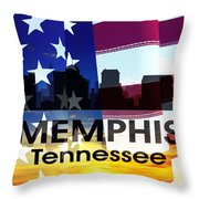 Memphis Tn Patriotic Large Cityscape Throw Pillow