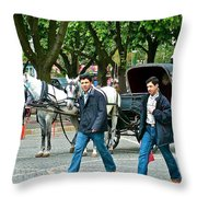 Men And Carriages In A Street Near Saint Sophia's In Istanbul-turkey Throw Pillow