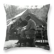 Men At Mining Camp Throw Pillow