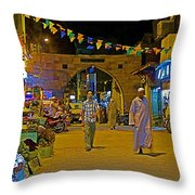 Men In The Spice Market In Aswan-egypt  Throw Pillow
