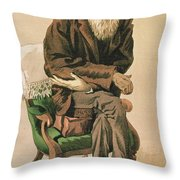Men Of The Day, No. 33, Charles Darwin, Cartoon From Vanity Fair Throw Pillow