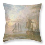 Men Of War At Anchor Throw Pillow by Henry Thomas Dawson