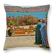 Men On Philae Island In Aswan-egypt  Throw Pillow