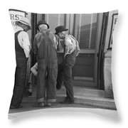 Men Talking On Bank Steps Throw Pillow