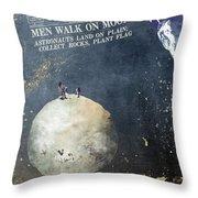 Men Walk On Moon Astronauts Throw Pillow