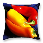 Menage A Trois Peppers Iv Throw Pillow