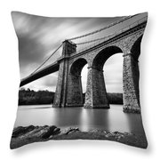 Menai Suspension Bridge Throw Pillow