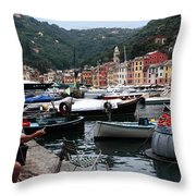 Mending The Fishing Nets Throw Pillow