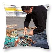Mending The Nets Throw Pillow