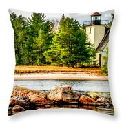 Mendota Bete Grise Lighthouse Throw Pillow